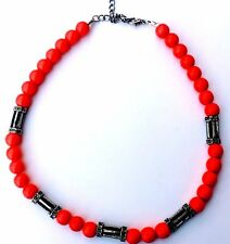 Orange Bead Tube Choker Necklace Men Women Unisex Jewelry