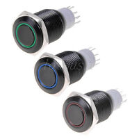 3 Pcs Angel Eye Led 16mm 12V Metal Latching Push Button Switch Red Blue Green