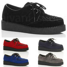 MENS PLATFORM WEDGE LACE UP GOTH PUNK BROTHEL CREEPERS BEETLE CRUSHERS SHOES