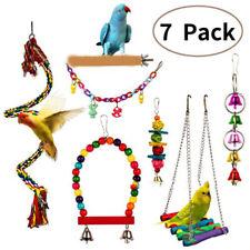 7Pcs Parrot Swing Bell Hanging Bird Cage Perch Toys Parakeet Cockatiel Budgi Ee
