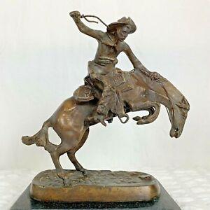 "Vtg ""Bronco Buster"" By Frederic Remington Solid Bronze Cowboy Signed Sculpture"