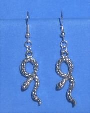 .925 Sterling earrings goth Handcrafted Snazzy Snake Tibetan silver &