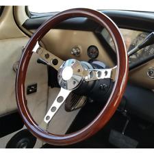 "15"" Wood Steering Wheel Universal Classic Nostalgia Style Hardwood Grip"