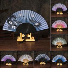 EG_ Women Hand Held Silk Flower Butterfly Folding Fan with Bamboo Frame Dance Cl