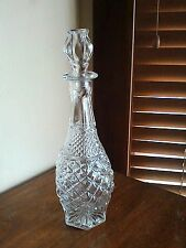 Wine Decanter/Mid Century/Cut Glass/ 4 Tier/16 Inches Tall/Rose Glass Lid