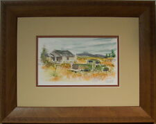 Gold & Green by Bill Crowley original wc conservation framed of old truck