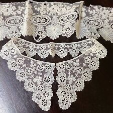 Lot of 2 Antique Floral Brussels Lace Border Mixed Needle Lace Collar Bobbin