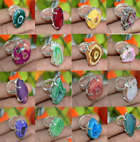 Solar Druzy Gemstone 925 Sterling silver Overlay Wholesale Lot Rings 15pcs