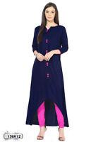 Women's Notch Neck Navy Blue Cotton Kurta Straight Kurti Designer Ethnic