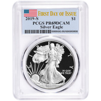 2019-S Proof $1 American Silver Eagle PCGS PR69DCAM FDOI Flag Label