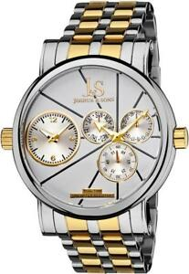 Joshua & Sons JS-35-TTG Dual Time Day Date White Dial Twotone Mens Watch