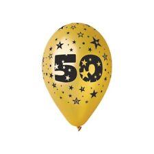 """Palloncini lattice grandi cm. 30 oro metallizzato """"50"""" - Blister 5 pezzi"""