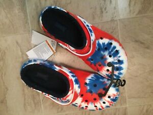 New Crocs Tie Dye Red White Navy Blue America Usa Lined Clog Shoes Mens Sz 12