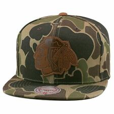 Mitchell & Ness Chicago Blackhawks Strapback Hat Woodland Camo/Leather Logo