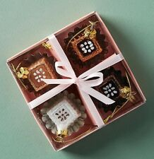 ANTHROPOLOGIE 4 MINI CHOCOLATE CANDY GLASS CHRISTMAS TREE ORNAMENT DECORATION