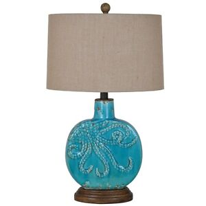 Octopus Table Lamp Turquoise Coastal Nautical Ocean Beach Decor Burlap Shade