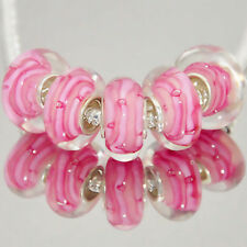 5 x White Pink Abstact Pastel Glass Bracelet Spacer Threader Charm Beads 2160