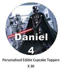 30x Star Wars Darth Vader Personalised Cupcake Toppers Edible Fairy Cake Toppers