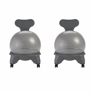 Gaiam Classic Gym Yoga Exercise Balance Ball Office Desk Chair, Gray (2 Pack)
