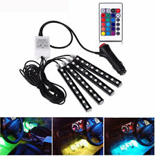 4in1 9LED 5050 RGB Car SUV Track Interior Floor Atmosphere Light Neon Strips