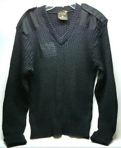 Vintage Citadel Mens 100% Wool Sweater Size Large Black Great Britain