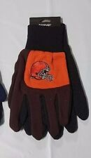 Cleveland Browns pair of Gloves 2 Tone Color Block Garden Sports Utility Brown