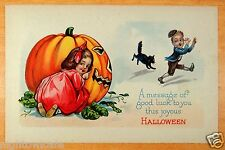 HALLOWEEN Postcard GIANT JACK-O-LANTERN GIRL SCARES BOY