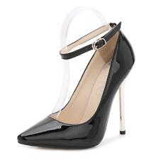 Black Women Sexy Super High Heels Pointed Toe Stiletto Sandals Catwalk Nightclub