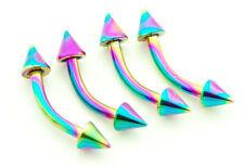 "Surgical Steel 3mm Spikes Eyebrow Rings 4Pc 16g 5/16"" Rainbow Titanium Ip 316L"