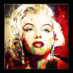 QUADRO Marilyn Monroe DIPINTO OLIO SU TELA  CON TELAIO IN LEGNO POP ART