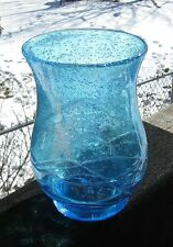 Super Vase Hand Blown Glass Tiney Bubbles Great Blue Color Glass