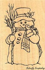 Country Snowman Wood Mounted Rubber Stamp STAMPENDOUS M318 New