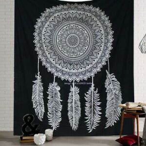 raajsee Tapestry Mandala, Black And White Dream Catcher