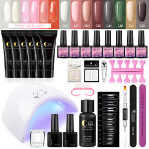 COSCELIA Poly Extension Gel Color UV Gel Kit with UV Lamp Nail Tool Glitter 15ml