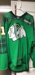 Authentic Reebok Blackhawks St. Patrick's Day Jersey Marian Hossa