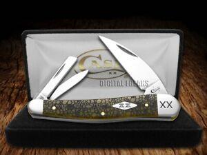Case xx Seahorse Whittler Knife Lizard Skin Olive Green Bone 1/500 Stainless
