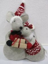 "Christmas Standing Mice Hugging Shelf Sitter Decoration Decor 18"" Tall"