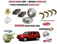 FOR JEEP PATRIOT 2.0DT 2.2DT 2.4 2006> REAR BRAKE DISCS 302mm SET + SHOES + PADS
