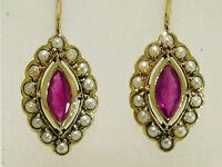 CE243 Elegant Genuine  9ct GOLD NATURAL Ruby & Pearl Cluster Drop Earrings