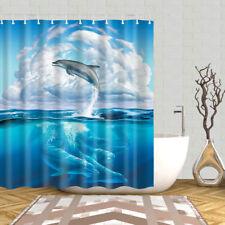 Sea Animals Bathroom Shower Curtain Decor Set Fish Shark Design Bath Curtains