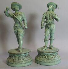 "Antique Pair of 14"" Green Patinated Cavelier Sculptures  c. 1900"