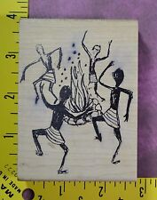 FIRE DANCE primitive drawing RARE people men women by Magenta rubber stamp #1728