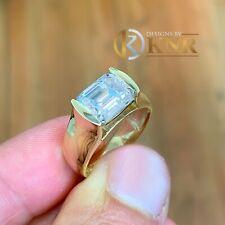 14K Oro Giallo Smeraldo Forever uno Moissanite e Diamante Fidanzamento Ring 3.50