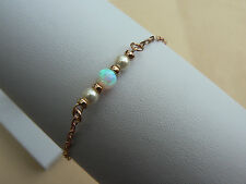 Rose Gold Vermeil chain link white Opal & Pearl stacking bracelet