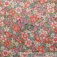 BonEful Fabric FQ Cotton Quilt Brown Pink Purple Cream Wild Flower Leaf Calico S