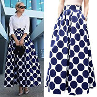 Polka Dot Women Stretch High Waist Skater Flared Pleated Swing Long Skirt Dress