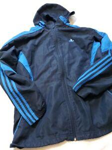 Men Adidas Track Jacket Hooded Full Zip Coat M BLUE HOODIe Packable hood