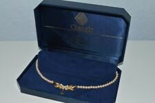 Vintage faux pearls necklace w/ sterling silver clasp in Lotus box