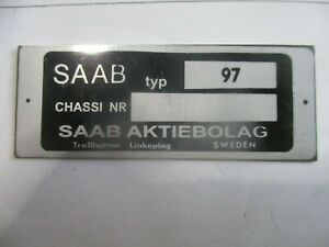 Id Nameplate Saab 97 Shield s66