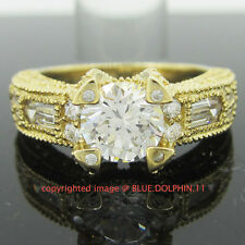 Vintage Genuine Solid 9ct Yellow Gold Engagement Wedding Ring Simulated Diamonds